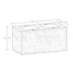 CJBLOK Pustak betonowy elewacyjny PBE-19-3-N trzystronnie łupany narożny, 2 image