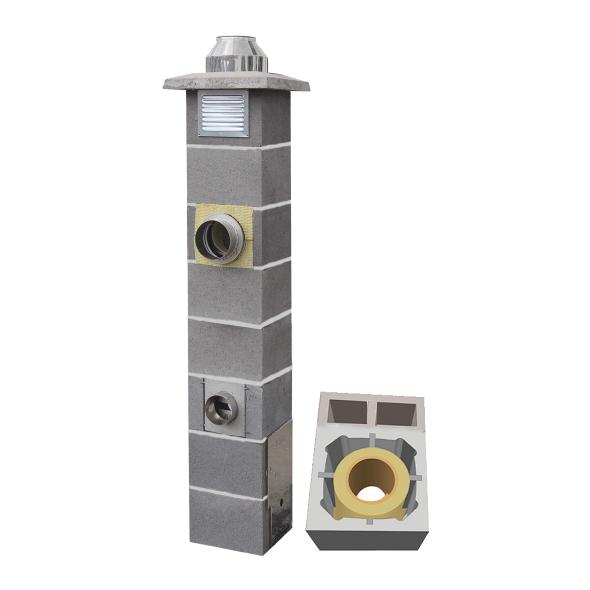 System Kominowy Ceramiczny  JAWAR Nord Ø 160mm z wentylacją 2-kanalową rura izostatyczna