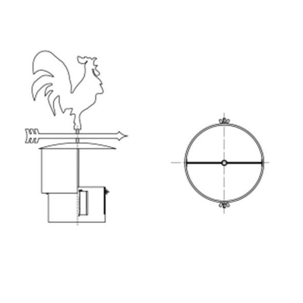 Wiatrowskaz KOGUT Ø 110mm z podstawą rurową
