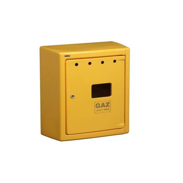 Skrzynka gazowa 600x600x250 natynkowa, kolor żółty