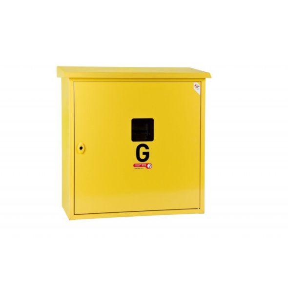 Skrzynka gazowa 600x600x250 natynkowa, daszek, kolor żółty