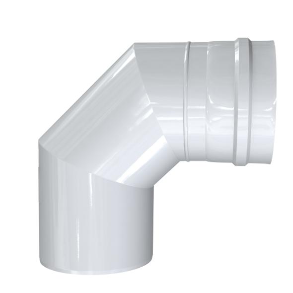 Kolano 90° dwuścienne MKPS Invest MK ŻARY  Ø 60/100mm białe