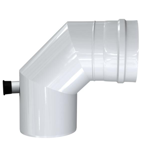 Kolano 90° z odskraplaczem i króćcem pomiarowym dwuścienne MKPS Invest MK ŻARY  Ø 60/100mm białe
